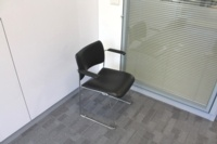 Black Leather Meeting Chairs With Chrome Legs - Thumb 3