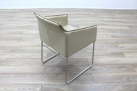 Allermuir Tommo Ivory Leather Chrome Frame Office Meeting / Canteen Chair - Thumb 7