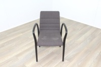 Brunner Brown Fabric Mahogany Frame Reception Chair - Thumb 2