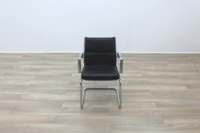 Charles Eames Soft Pad Style Black Leather Cantilever Office Meeting Chair - Thumb 4