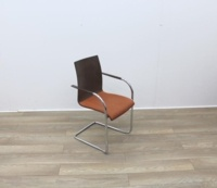 Walnut With Fabric Seat Meeting Chairs - Thumb 6