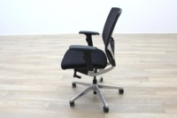 Black Fabric / Mesh & Polished Aluminium Office Task Chairs - Thumb 4
