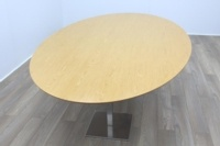 Oak Veneer Oval Office Meeting Table - Thumb 3