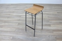 Allermuir Walnut Seat / Chrome Base Office Canteen Bar Stool - Thumb 3