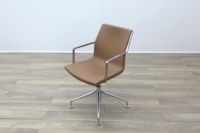 Kron Tan Brown Leather Executive Office Meeting Chairs - Thumb 3
