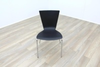 Black Polymer Stackable Office Canteen Chairs - Thumb 3