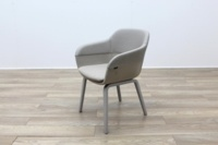 Brunner Grey Leather Back Grey Fabric Seat Reception Tub Chair - Thumb 3