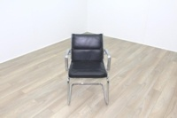 Charles Eames Soft Pad Style Black Leather Cantilever Office Meeting Chair - Thumb 3