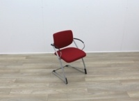 Red Fabric Meeting Chairs With Grey Frame - Thumb 6