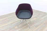 Brunner Purple and Grey Fabric Reception Tub Chair - Thumb 2
