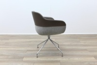 Brunner Brown Leather Back Grey Fabric Seat Reception Tub Chair - Thumb 6