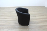 Black Leather Office Reception Tub Chair - Thumb 6