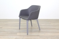 Brunner Light Grey Leather Grey Wooden Frame Reception Tub Chair - Thumb 3