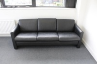 Black 3 Seater Faux Leather Sofa - Thumb 2