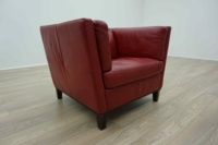Red Leather Italian Single Seater Office Reception Arm Chair - Thumb 4