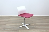 Dynamobel White Back Pink Fabric Seat Meeting Chair - Thumb 4