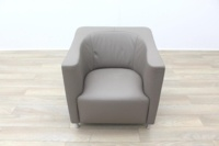 Brunner Beige Leather Reception Chair - Thumb 5