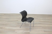 Black Polymer Stacking Office Canteen Chair - Thumb 2