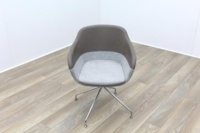 Brunner Brown Leather Back Grey Fabric Seat Reception Tub Chair - Thumb 2