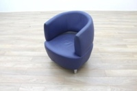 Blue Leather Office Reception Tub Chairs - Thumb 2