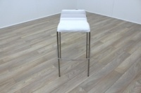 White Leather / Chrome Office Canteen / Cafe Bar Stools - Thumb 2