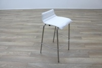 White Leather / Chrome Office Canteen / Cafe Bar Stools - Thumb 5