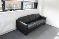 Black 3 Seater Faux Leather Sofa - Thumb 3