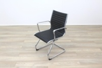 New Black Ribbed Leather Cantilever Office Meeting Chair - Thumb 4