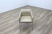 Allermuir Tommo Ivory Leather Chrome Frame Office Meeting / Canteen Chair - Thumb 2