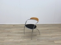 Black Fabric Meeting Chairs With Chrome Legs And Wood Back - Thumb 3