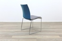 Brunner Blue and White Back with Grey Leather Seat Meeting Chair - Thumb 8