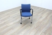 Senator Blue Fabric Stacking Office Meeting Chairs on Castors - Thumb 3