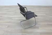 ICF Brown Ribbed Leather Cantilever Office Meeting Chair - Thumb 7