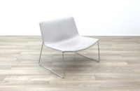 Arper Catifa 80 Sled Grey Leather Reception Chair - Thumb 5