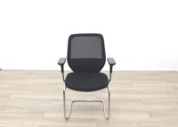 Orangebox Joy Black Fabric Seat / Black Mesh Back Cantilever Office Meeting Chairs - Thumb 4