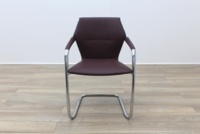 Brunner Burgundy Leather Cantilever Meeting Chair - Thumb 4