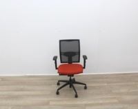Mesh Back and Red Fabric Seat Operator Chair - Thumb 3
