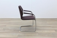 Brunner Burgundy Leather Cantilever Meeting Chair - Thumb 6