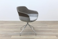 Brunner Brown Leather Back Grey Fabric Seat Reception Tub Chair - Thumb 5