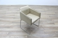 Allermuir Tommo Ivory Leather Chrome Frame Office Meeting / Canteen Chair - Thumb 5