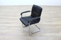 Black Leather Cantilever Office Meeting Chair - Thumb 3