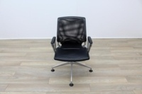 Vitra Meda Black Leather Seat Mesh Back Meeting Chair - Thumb 4