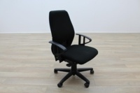 Black Fabric Multifunction Office Task Chairs - Thumb 2