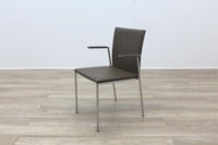 Brunner Brown Leather with Armrests Meeting Chair - Thumb 3