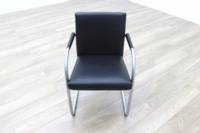 Vitra Visasoft Black Leather Cantilever Office Meeting Chairs - Thumb 2