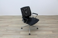 Vitra Meda Black Leather Seat Mesh Back Meeting Chair - Thumb 5