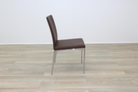Brunner Brown Leather Chrome Base Meeting Chair - Thumb 6