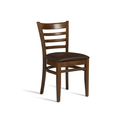 New PLUS Medium Walnut Solid Beech with Dark Brown Faux Leather Seat Pad Side Chair