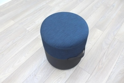 Brunner Black Leather Blue Fabric Low Stool Chair