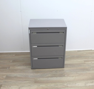 Three Drawer Grey Metal Side-Filing Cabinet